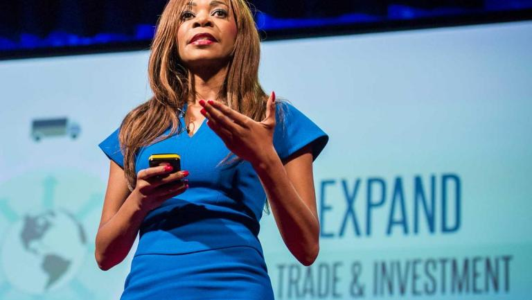 Dr. Dambisa Moyo delivers a talk
