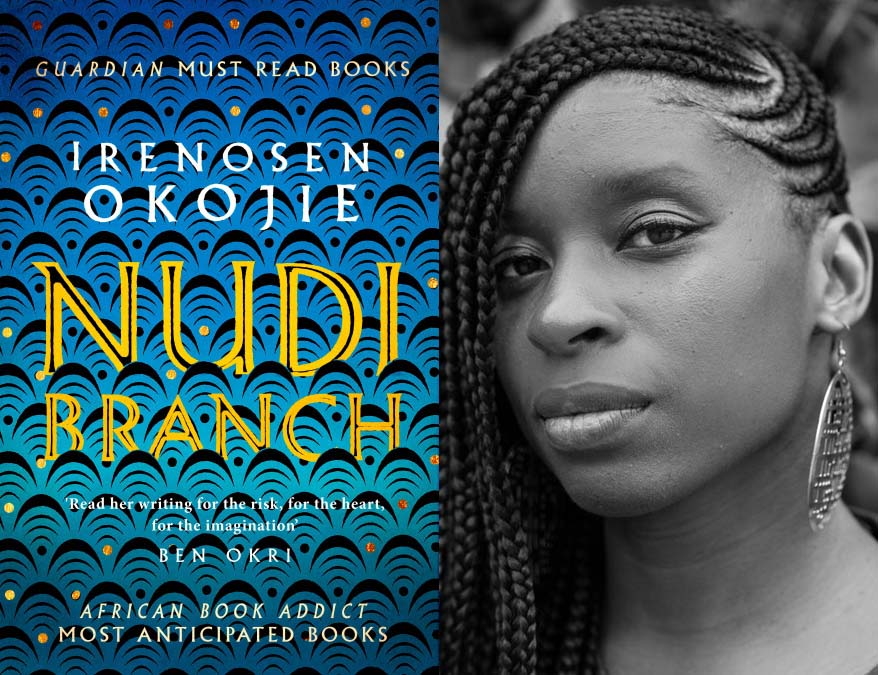 Irenosen Okojie with book cover for her collection Nudibranch.