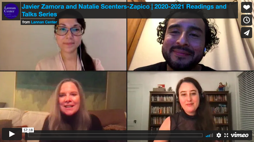 Screenshot from Crowdcast featuring Javier Zamora and Natalie Scenters-Zapico.