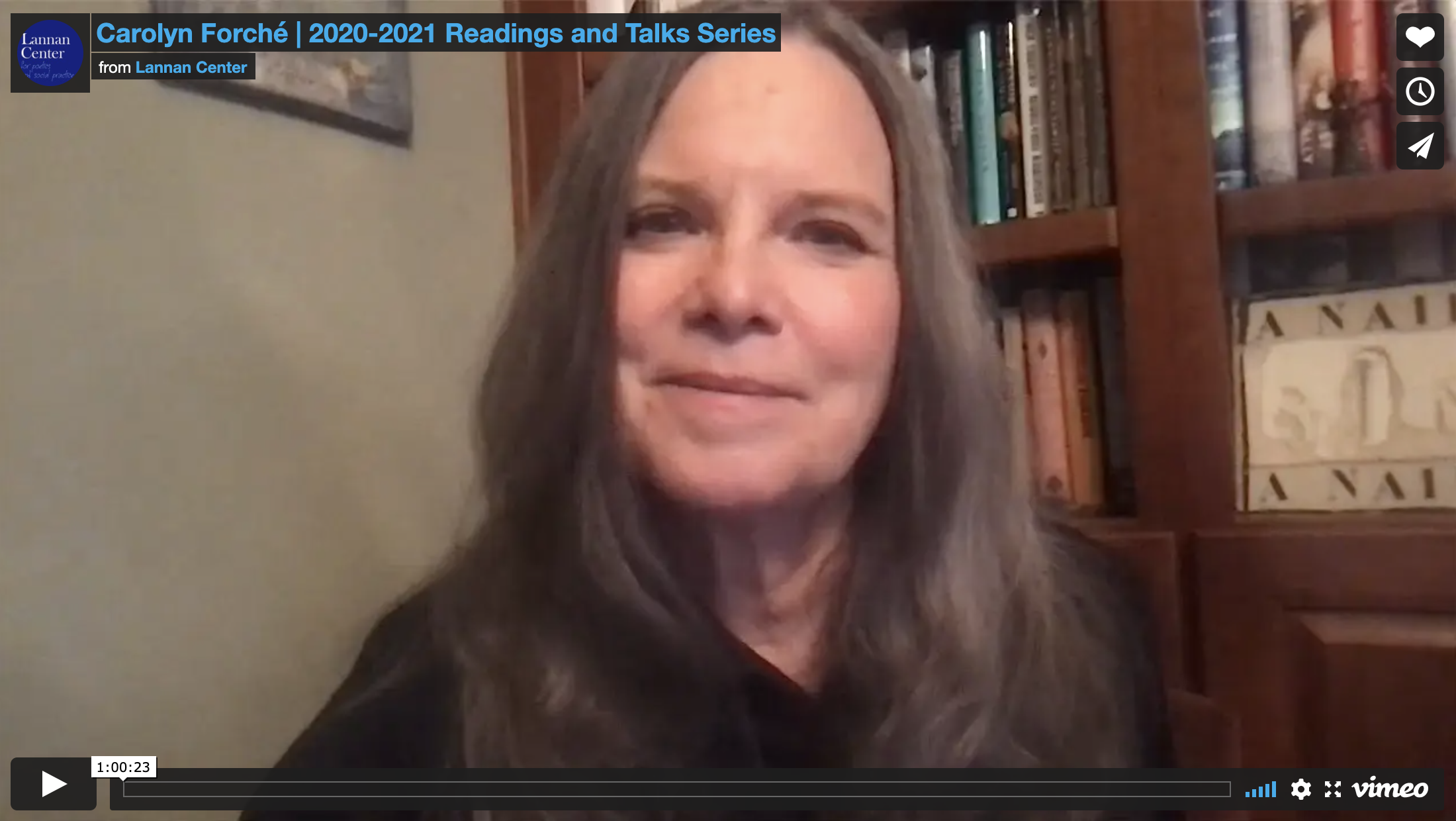 Carolyn Forché looks at camera during her virtual reading