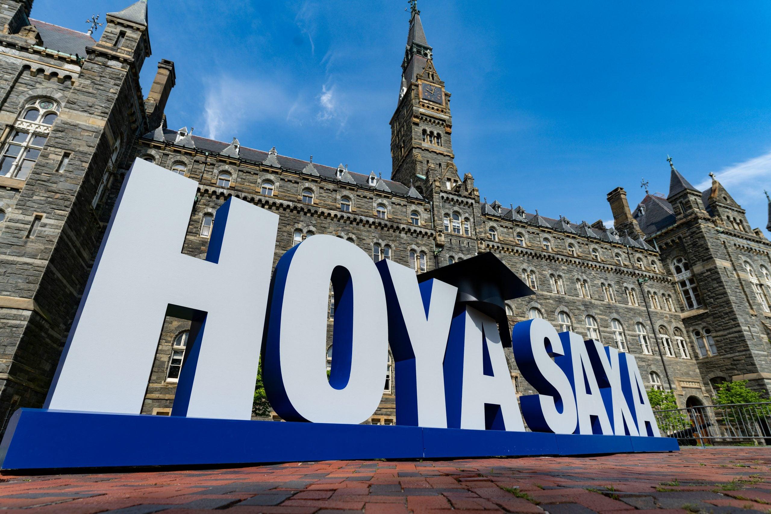 Large Hoya Saxa sign on Healy Lawn